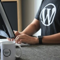 person typing on a computer with wordpress logo on his shirt